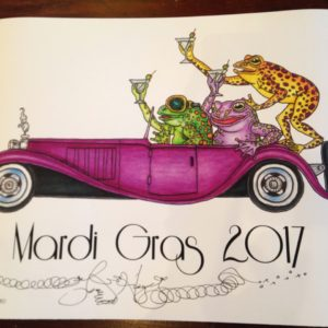 Mardi Gras 2017 Martini Drinking Frogs driving a Bugatti Limited Edition Fine Art Giclee, signed and remarqued 12 X 16