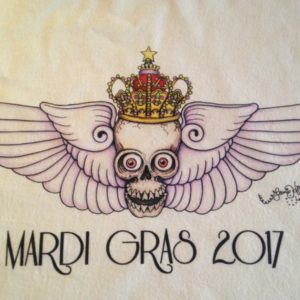 Mardi Gras 2017 Skull with Wings Crew Neck 100% cotton T-shirt, Choose your color!