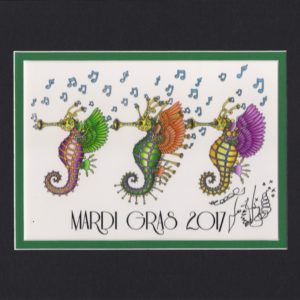 "Mardi Gras 2017 Sea ""Horns"", matted to fit an 8″ x 10″ frame"