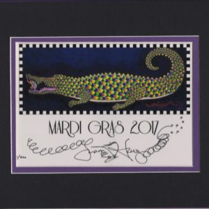 Mardi Gras Gator with Frog, blue background, matted to fit an 8″ x 10″ frame