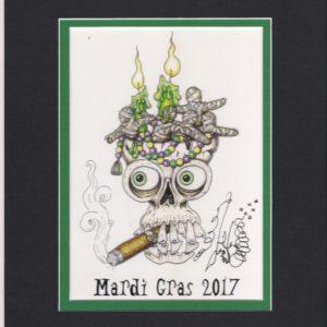 Mardi Gras 2017 Cigar Smoking Skull, matted to fit an 8″ x 10″ frame