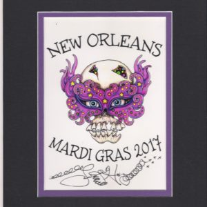 Mardi Gras 2017 Skull with Mask, matted to fit an 8″ x 10″ frame