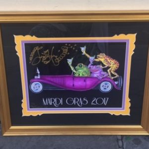 Frogs Driving Bugatti Mardi Gras 2017 13″ x 16″ Framed Giclee, black background