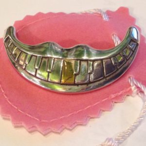 "Sterling Silver ""Piano Mouth"" Lip Pin with 14ct. Gold Tooth"