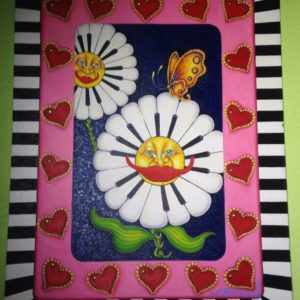 Piano Daisies surrounded by Hearts, original oil painting, 36″x 48″