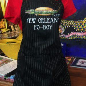 New Orleans Po-Boy 100% Cotton Black Pinstripe Adjustable Bib Apron