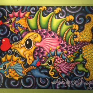 Pucker Fish Fanily, original oil painting, 46″ x 36″