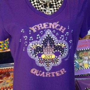French Quarter 2017 — Ladies 100% cotton deep V-Neck T-Shirt