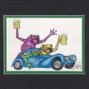 "Frogs in a 1932 ""Blugatti"" , matted to fit an 8″ x 10″ frame"