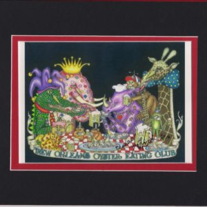 """""""New Orleans Oyster Eating Club,"""" matted to fit an 8″ x 10″ frame"""