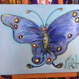 Blue Butterfly, original oil painting, 15 1/2″ x 11 1/2″