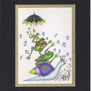 Frogs riding a Snail , matted to fit an 8″ x 10″ frame