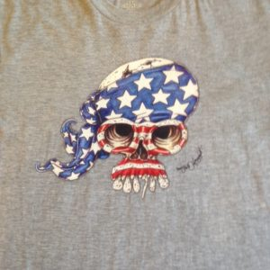 American Flag Skull 100% cotton T-shirt, Choose Your Color