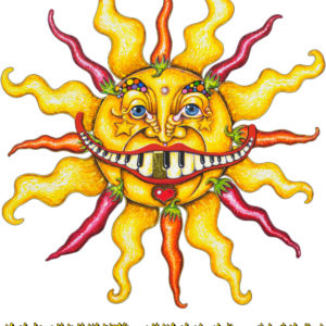 """Hotter Than July"" Sun with Chili Peppers Limited Edition Fine Art Giclee, signed and remarqued 12 X 16"