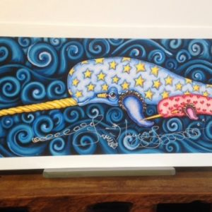Mother and baby Narwhale Fine Art Giclee, signed & remarqued