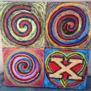 Circles and Heart , Original Oil Painting, 24″ x 24″