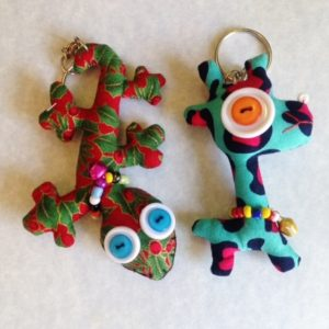 Set of 2 handmade stuffed key chain,  gecko and giraffe