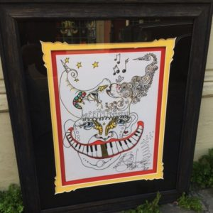 Black Wood Framed Original Drawing, Piano Mouth Man, gold tooth