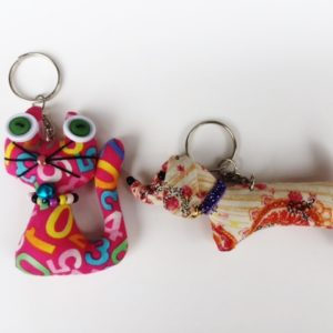 Set of 2 handmade stuffed key chain,  dachshund and cat