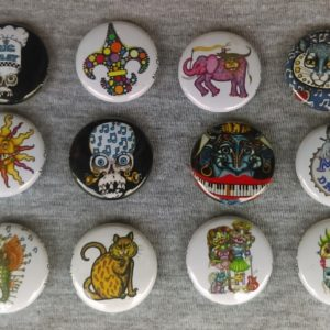Set of 12 Jamie Hayes buttons/pins assortment including cats, skulls, fleur de lis, seahorse, more