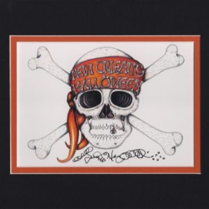 New Orleans Halloween Skull, matted to fit an 8″ x 10″ frame