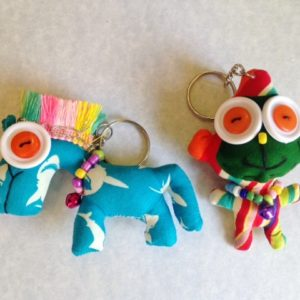 Set of 2 handmade stuffed key chain,  pony and monkey