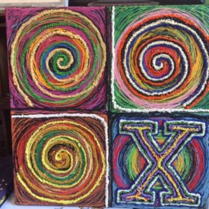 "Circles and ""X"" , Original Oil Painting, 24″ x 24″"