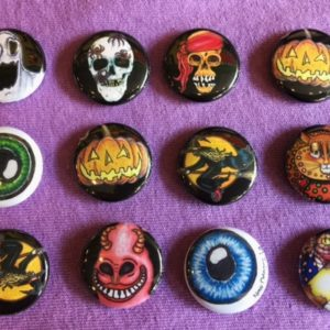 Set of 12 Jamie Hayes HALLOWEEN buttons/pins assortment