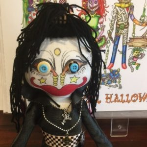 Jamie Hayes' hand-painted 16″ Voodoo doll, signed, one of a kind