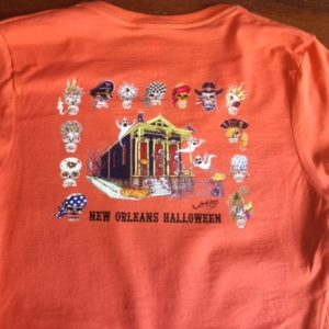 New Orleans Halloween — Ladies 100% cotton deep V-Neck T-Shirt, Orange