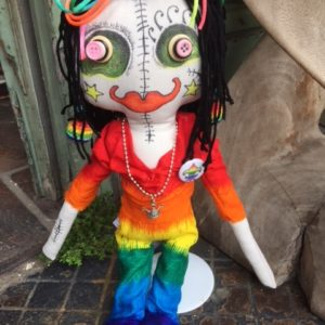 Jamie Hayes' hand-painted Rainbow 16″ Voodoo doll, signed, one of a kind