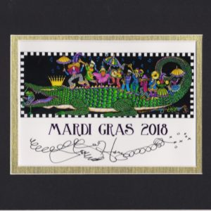"""King Gator & his 2nd Line"" Mardi Gras 2018, matted to fit an 8″ x 10″ frame"