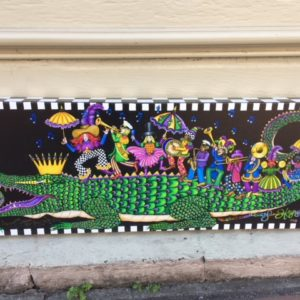 """King Gator & his 2nd Line"" Mardi Gras 2018 Giclee on Canvas, signed and remarqued, 9″ x 24″"