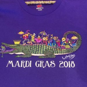 """King Gator and his 2nd Line"" Mardi Gras 2018 Unisex Crew Neck 100% cotton T-shirt, Choose your shirt color!"