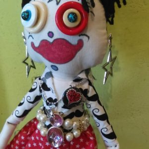 """Jamie Hayes' hand-made """"She's A Star"""" 16″ Make-A-Wish doll, signed, one of a kind"""