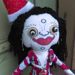 Jamie Hayes' hand-painted Christmas Reindeer 16″ Voodoo doll, signed, one of a kind
