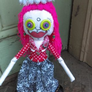 Jamie Hayes' hand-painted Christmas 16″ Voodoo doll, signed, one of a kind