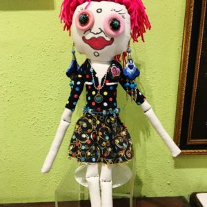 Jamie Hayes' hand-painted Holiday 16″ Voodoo doll, signed, one of a kind