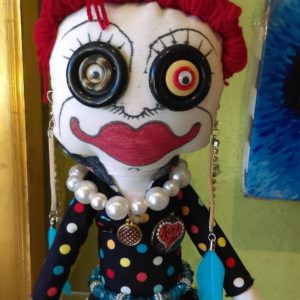 Jamie Hayes' hand-painted NOLA Heart  16″ Voodoo doll, signed, one of a kind