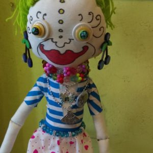 Jamie Hayes' hand-made Garden 16″ Voodoo doll, signed, one of a kind