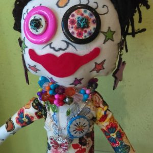 Jamie Hayes' hand-made Butterfly 16″ Make-A-Wish doll, signed, one of a kind