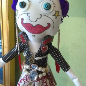 Jamie Hayes' hand-painted LOVE 16″ Make-A-Wish doll, signed, one of a kind