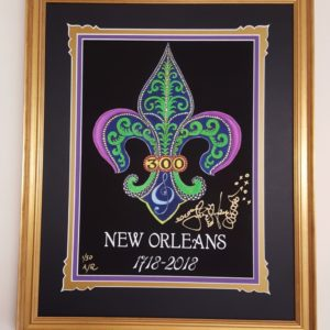 Gold Framed New Orleans 300th Anniversary Fancy Version with added Gold Leaf, Fine Art Giclee, signed and numbered