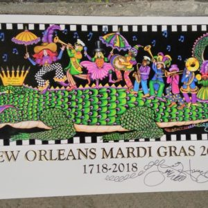 """King Gator and his 2nd Line"" Mardi Gras 2018 300th Anniversary Poster, signed and numbered"