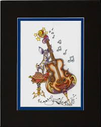 Chihuahua Playing Bass 8 x 10 Double Matted Print