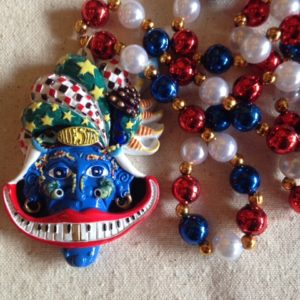 Bluesman Mardi Gras Bead, hand painted