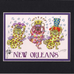 Dancing Pug with Kitties Mardi Gras 2015 8″ x 10″ Fine Art Giclee, signed