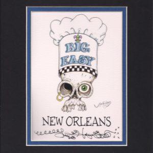Chef Hat Skull 8″ x 10″ Fine Art Giclee, signed
