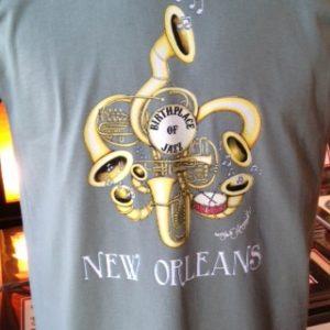 Birthplace of Jazz Fleur de Lis Crew Neck T-shirt, Choose your color!