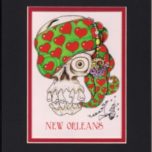 Skull with Heart Scarf 8″ x 10″ Fine Art Giclee, signed